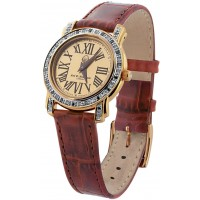 WTCH2   Gold Plated Sterling Silver (Vermeil) Unisex Diamond Set Watch with Leather Strap Ari D Norman